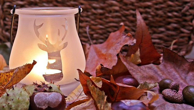 Scented candle and fall staging picture